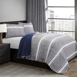 Queen Gray Navy Stripe Motif 100% Cotton Reversible Quilt Coverlet Bedspread Set