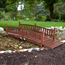 Category: Dropship Outdoors, SKU #R8FTGB519851, Title: Durable 8-Ft Garden Bridge with Hand Rails in Red Shorea Wood Outdoor