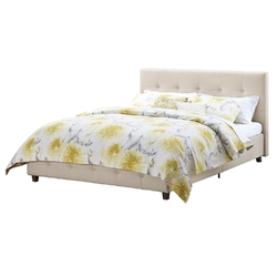 Full size Tan Linen Upholstered Platform Bed Frame with Button-Tufted Headboard