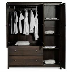 Espresso Wood Finish Bedroom Wardrobe Armoire Cabinet Closet