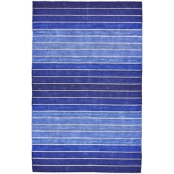 4' X 6' Striped Hand-Tufted Wool/Cotton Blue Area Rug