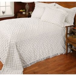 Full size Diamond Pattern Cotton Chenille Bedspread in White