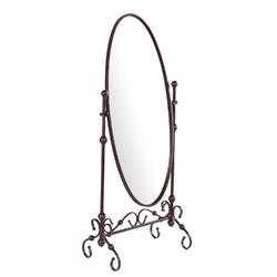 Antique Bronze Finish Metal Cheval Floor Mirror