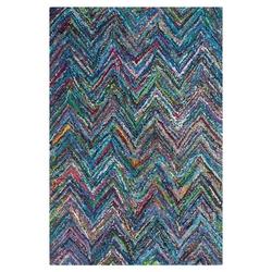 4' x 6' Blue Multi-Color Chevron Cotton Hand Woven Area Rug