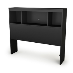 Twin-size Bookcase Headboard in Black Finish - Modern Design