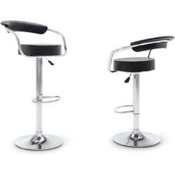 Set of 2 Modern Bar Stools with Black Faux Leather Round Seat with Footrest