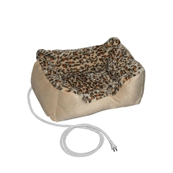 Heated Pet Bed for Small Dog or Cat with Leopard Print Padded Cushion