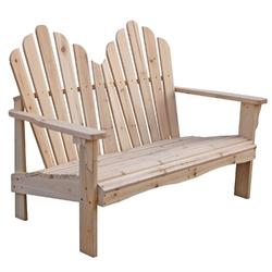 Cedar Wood Outdoor Patio 2-Seat Adirondack Chair Style Loveseat