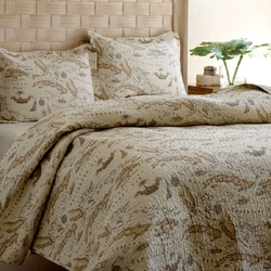 Full / Queen size 100% Cotton Caribbean Map Reversible Quilt Set
