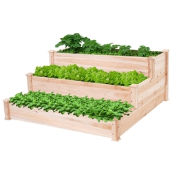 Category: Dropship Outdoors, SKU #TEWGBP586931, Title: Solid Wood 4 Ft x 4 Ft Raised Garden Bed Planter 3-Tier