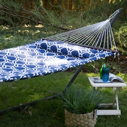 Blue White Quilted Hammock with 13-ft Heavy Duty Black Metal Stand