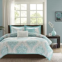 Twin / Twin XL Comforter Set in Light Blue White Grey Damask Pattern