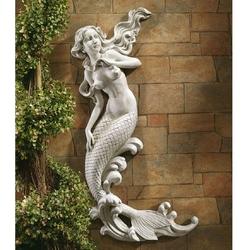 Outdoor Patio Wall Decor Mermaid Wall-Mounted Garden Statue