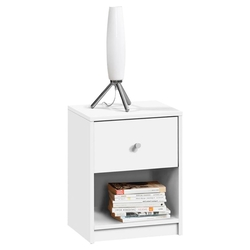 Contemporary 1-Drawer Nightstand with Storage Shelf in White