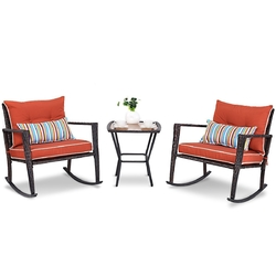 Category: Dropship Outdoors, SKU #TPRWFSR58581, Title: Outdoor 3-Piece Rattan Rocking Chairs and Table Set with Red Cushions