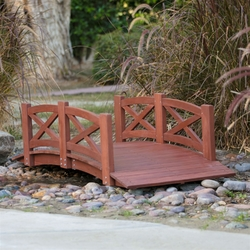 Category: Dropship Outdoors, SKU #VPWK453281, Title: Outdoor 6-Ft Garden Bridge with X-Design Rails in Red Stained Acacia Wood