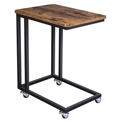 Modern Industrial Side Table Nightstand TV Tray on Wheels