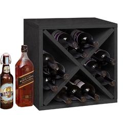 Black Wood 12-Bottle Stackable Wine Rack