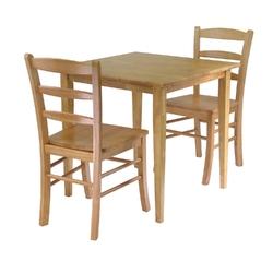 3 Piece Wood Dining Set in Light Oak Finish