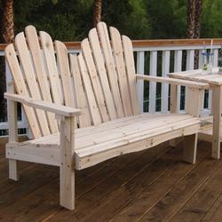 2-Seat Adirondack Style Outdoor Cedar Wood Garden Bench