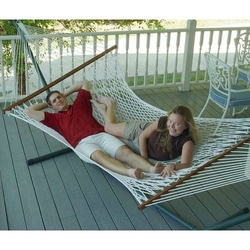 White Cotton Rope XL Hammock with 13-ft Black Metal Stand