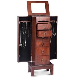 Medium Brown Wood Jewlery Armoire Storage Chest Cabinet with Mirror