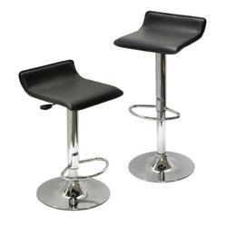 Set of 2 Modern Air-Lift Adjustable Bar Stools with Black Seat