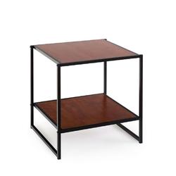 Modern Steel Frame End Table Nightstand in Brown