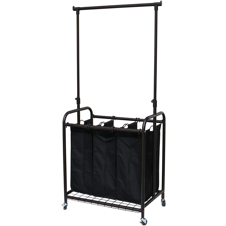 Bronze Black 3-Bag Laundry Sorter Hamper with Adjustable Clothes Hanging Bar