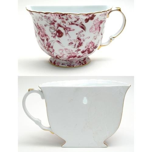 Porcelain Tea Cup Wall Pocket - Red Floral