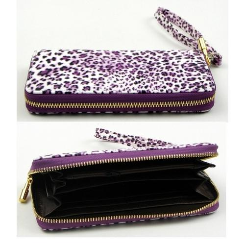 Purple Animal Print Zipper Wallet