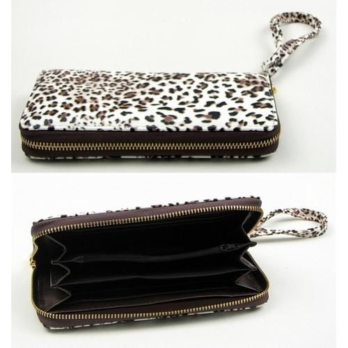 Brown Animal Print Zipper Wallet