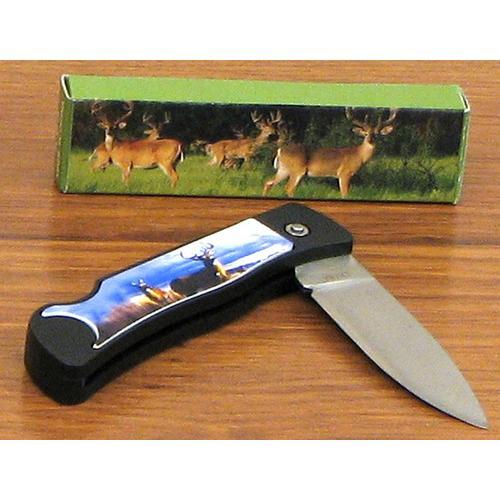 Deer Scene Knife w/Lock Blade