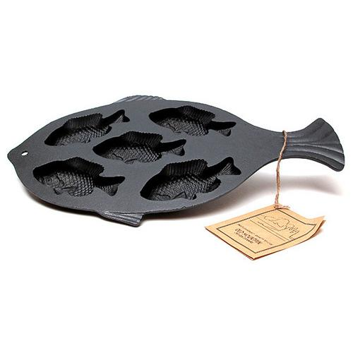 Old Mountain Cast Iron Preseasoned Fish Cornbread Pan