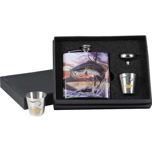 BASS 7 oz. Flask / Shot Glass Set