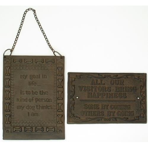 Cast Iron Set of Two Rust Plaques: Visitors & Life's Goal
