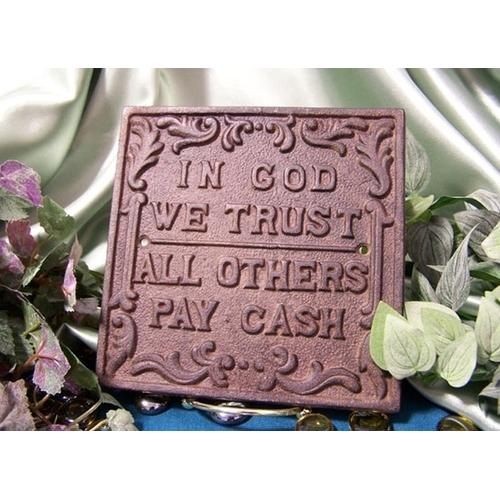 Cast Iron In God We Trust Plaque 2 Sets