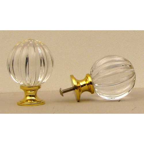 Clear Solid Crystal Pumpkin Knob