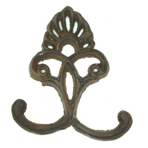 Cast Iron Crown Hooks Set of 6 Rust