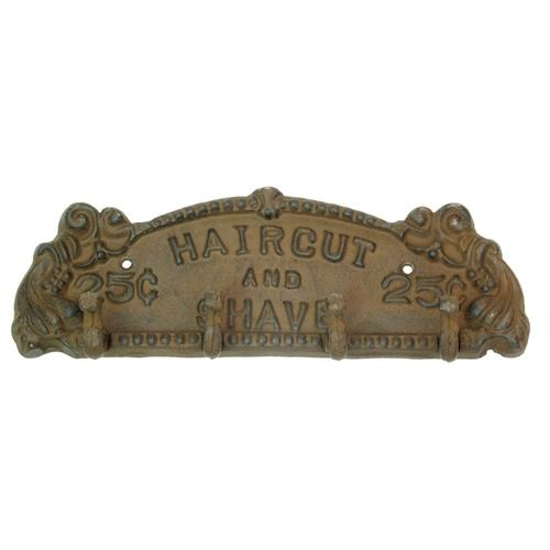 Cast Iron Rust Haircut and Shave Plaque/Hanger