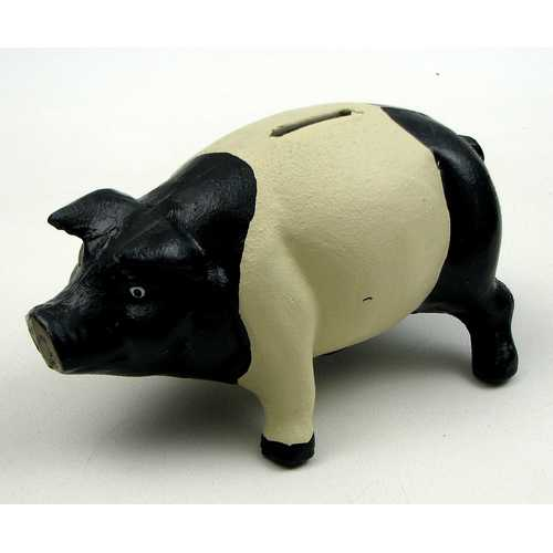Cast Iron Pig Bank Black/White