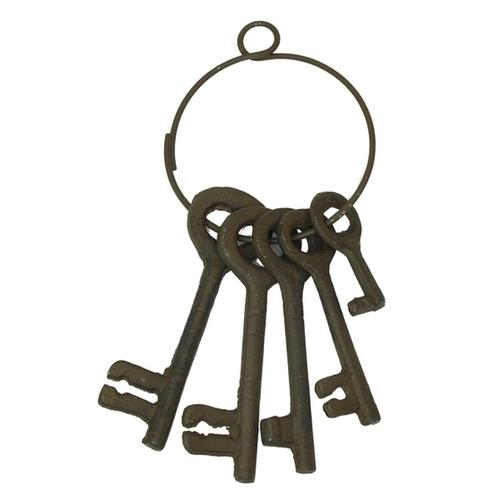 Cast Iron Set of Five Jailer Keys On Rings - 2 Sets