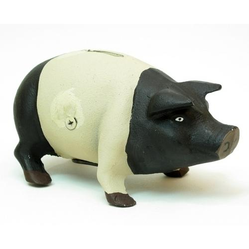 Cast Iron Pig Bank BlackWhite