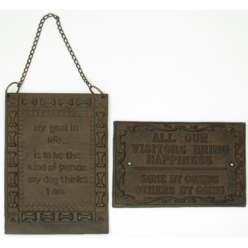 Cast Iron Set of 2 Plaques: Visitors & Life's Goal