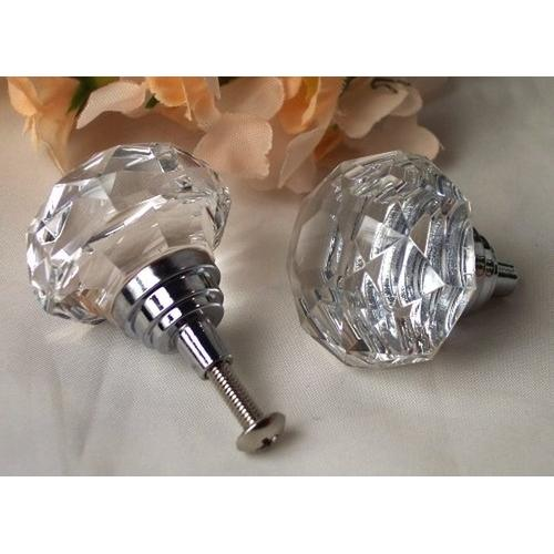 LARGE Clear Solid Crystal Glass DrawerDoor Pull