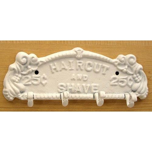 Haircut/Shave Wall Hook White
