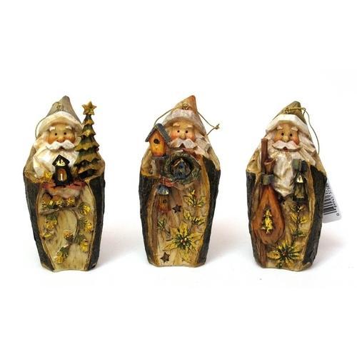 Roman Carved Santa Ornament set3