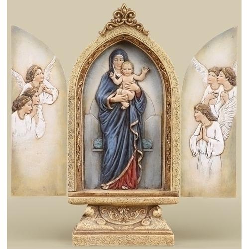 """9""""H Madonna & Child Triptych"""