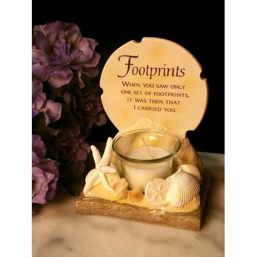 Footprints Poem Votive Holder