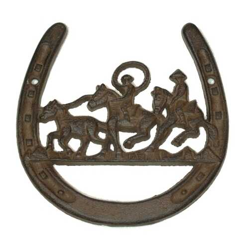 Cast Iron Horse Shoe W Horse Ropers